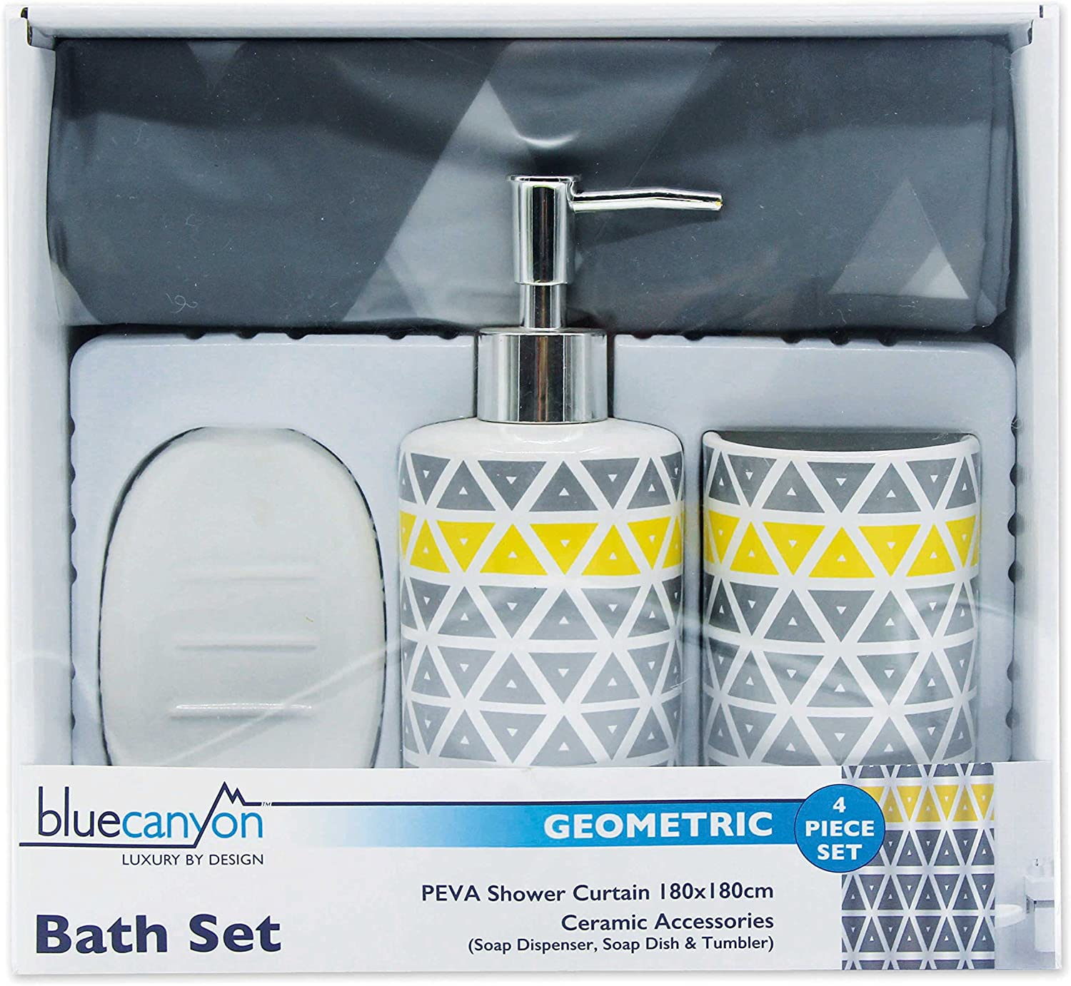 4 Piece Geometric Grey/Yellow Shower Curtain and Accessory Set ( Shower  Curtain, Ceramic Soap Dispenser, Tumbler and Soap Dish)