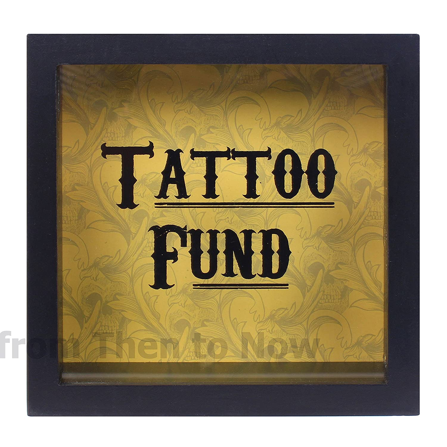Black Tattoo Fund Glass Money Box with Wooden Frame Something Different
