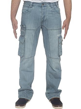 80dfe76a ENZO Mens Regular Fit Heavy Duty Work Cargo Combat Denim Jeans at ...