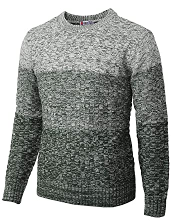 94dbc8e95 H2H Mens Fashion Three Tone Color Gradation Knitted Pullover Sweater Green  US 3XL Asia 4XL