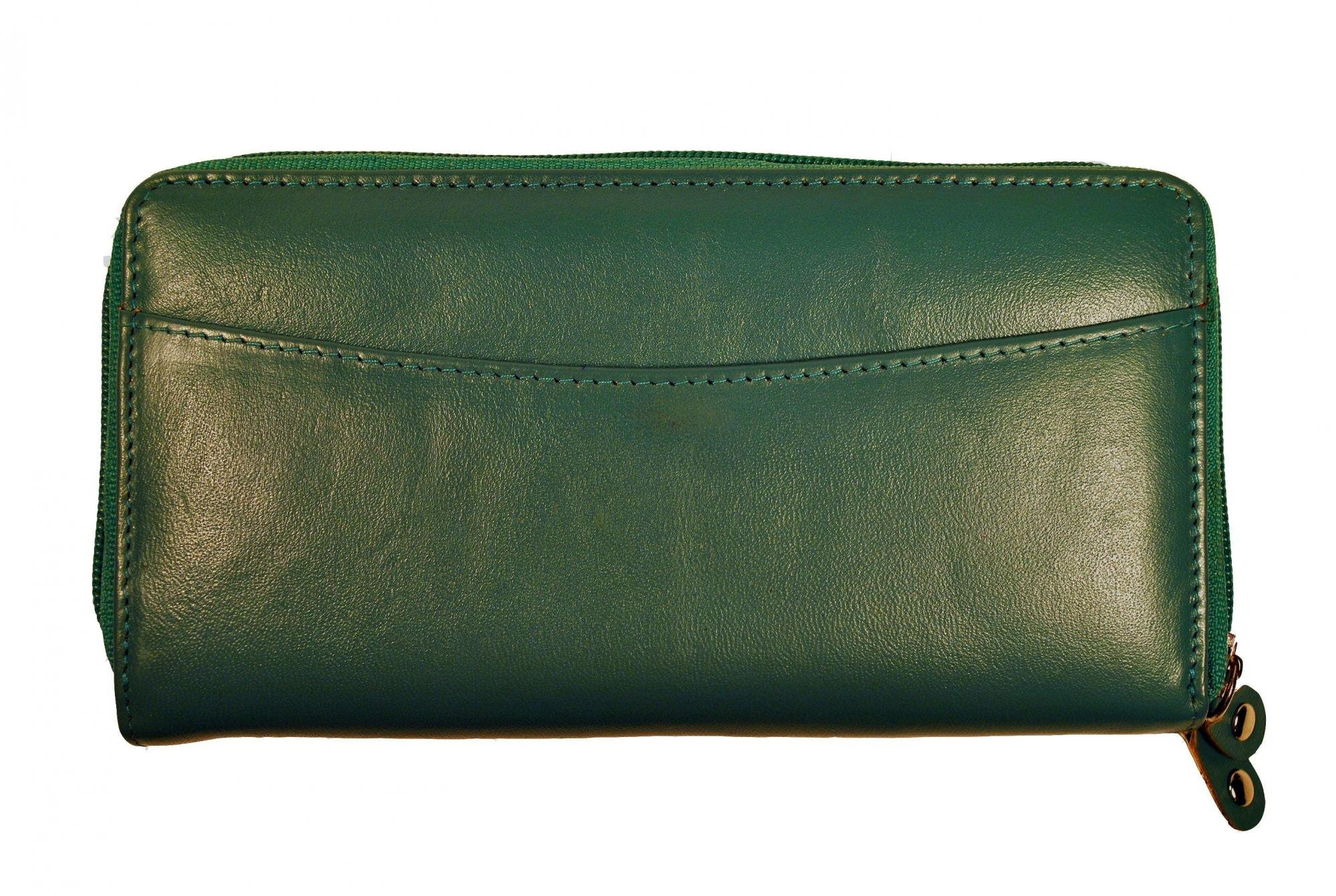 Budd Leather Calf Double Zip Around Credit Card Wallet With RFID - Green