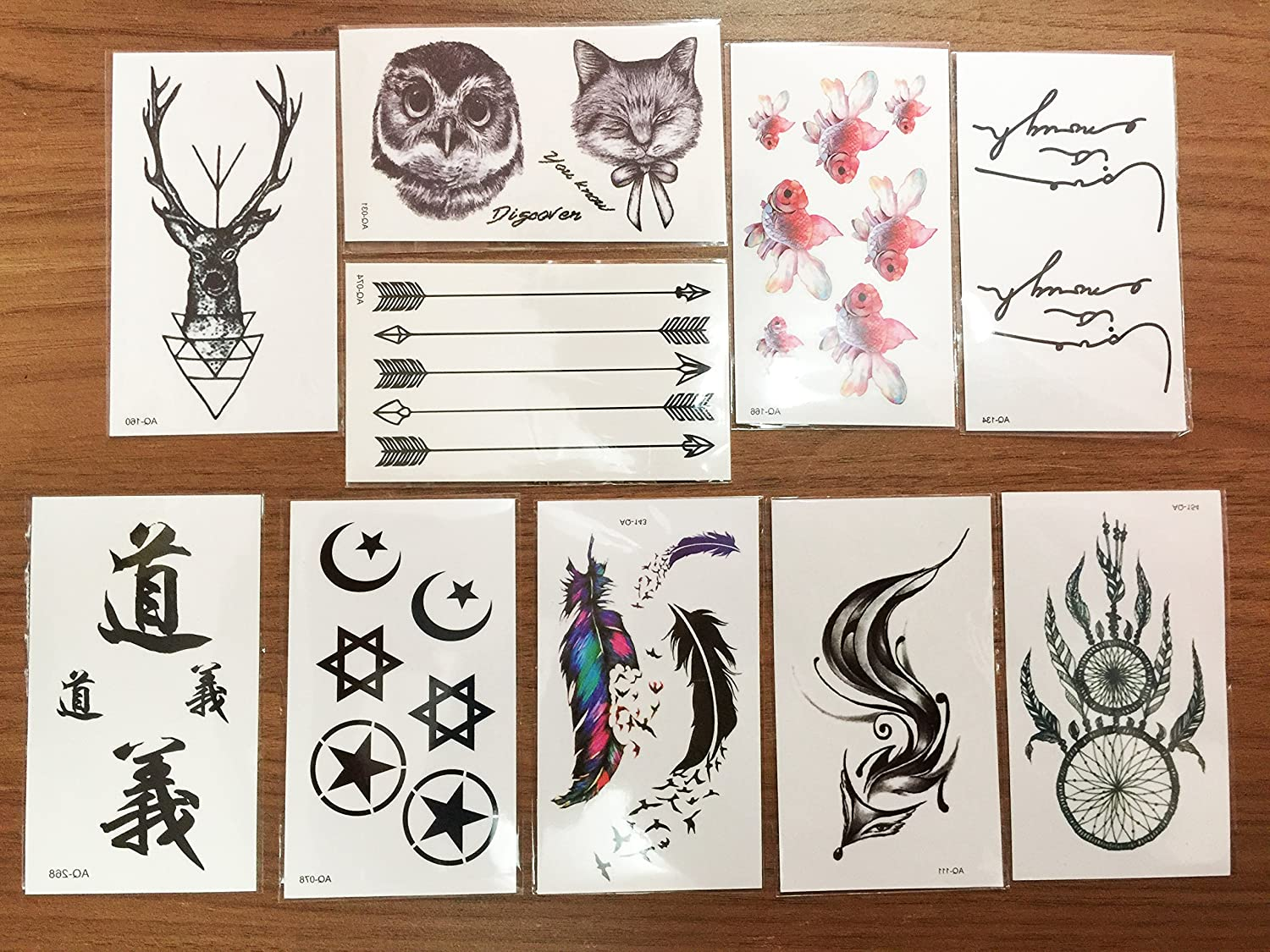 10 Sheets of Temporary Tattoo Stickers Removable Tattoo Waterproof 2018 Newest Designs Last 7 10 Days