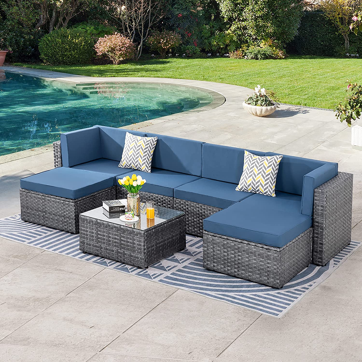 SUNLEI 7pcs Patio Outdoor Furniture Sets Conversation Set,Low Back All-Weather Rattan Sectional Sofa with Tea Table&Washable Couch Cushions&Ottoman(Silver Rattan)(Aegean Blue)