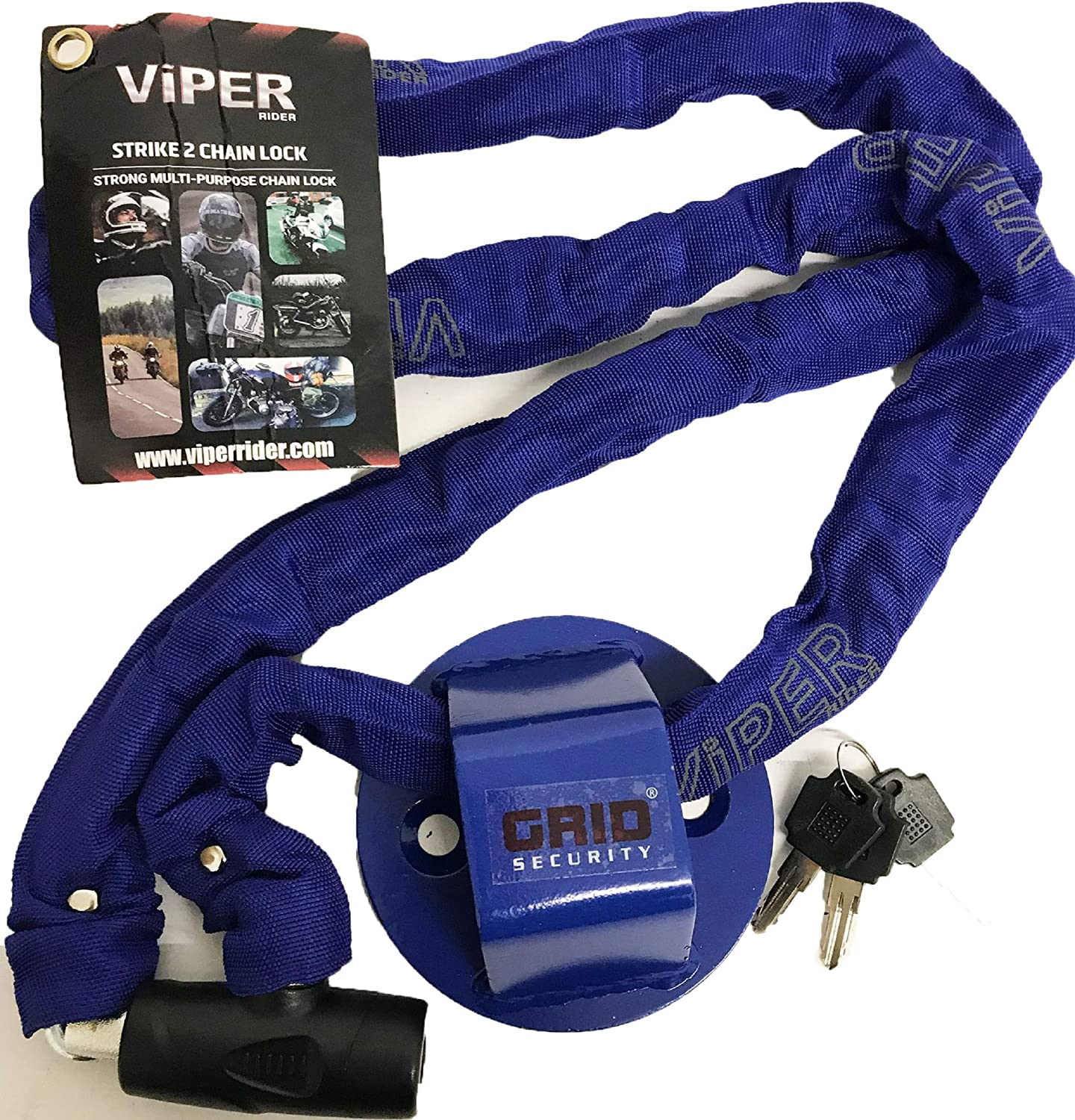 Motorcycle Security Grid Ground Anchor 1.8m Chain Lock Viper Strike2 Rock Solid Motorbike Scooter Securing Kit