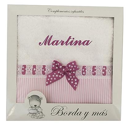 Toalla de ducha para bebé BORDADA CON EL NOMBRE, Modelo rayas y estrellas en rosa