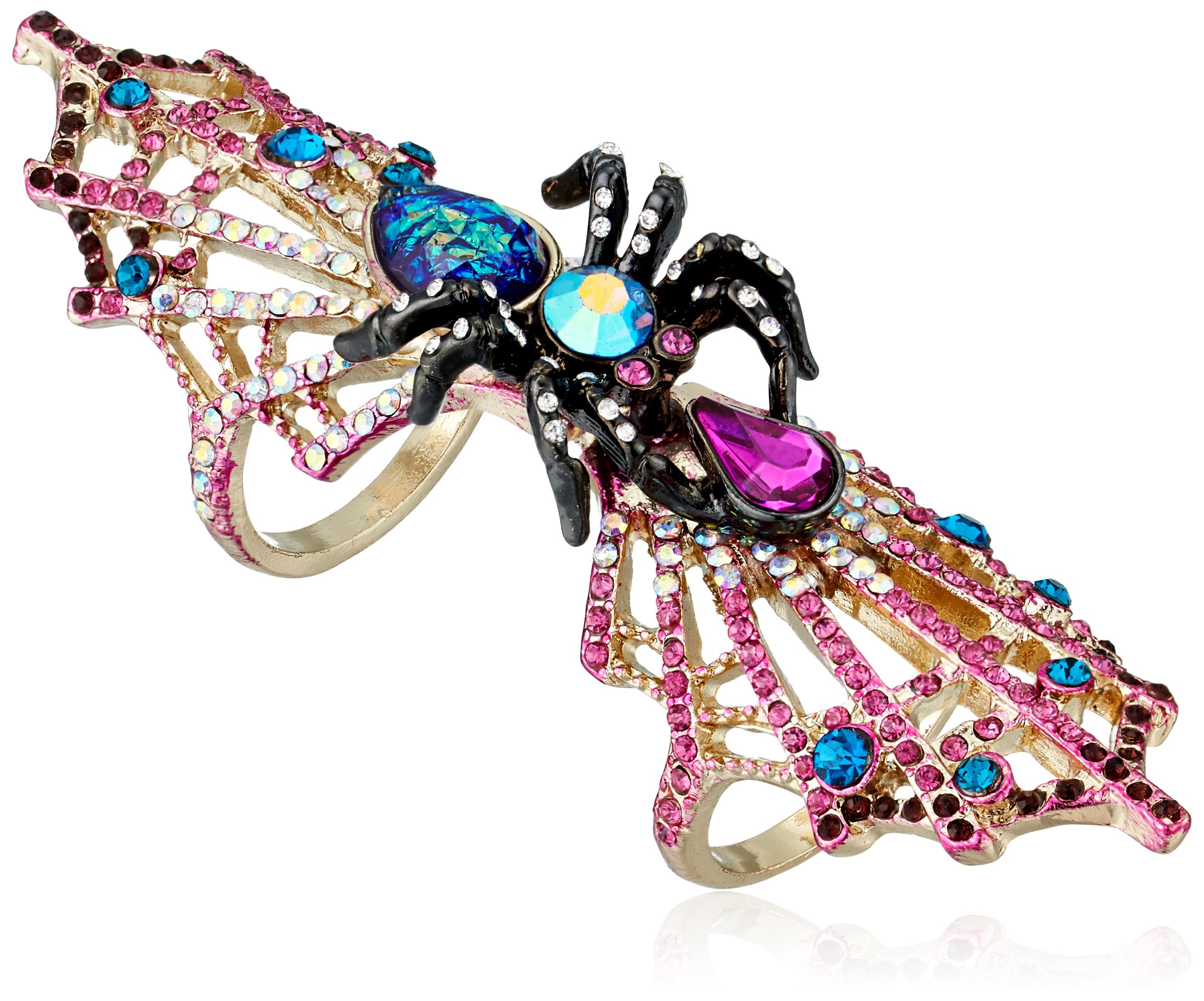 Betsey Johnson Halloween Spider and Spiderweb Double Finger Ring, Size 7.5-8.5