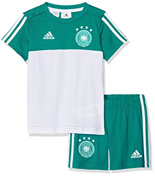 Adidas Unisex Baby DFB 3 Stripes Summer Set Camiseta & Pantalón, CF2490, EQT Green