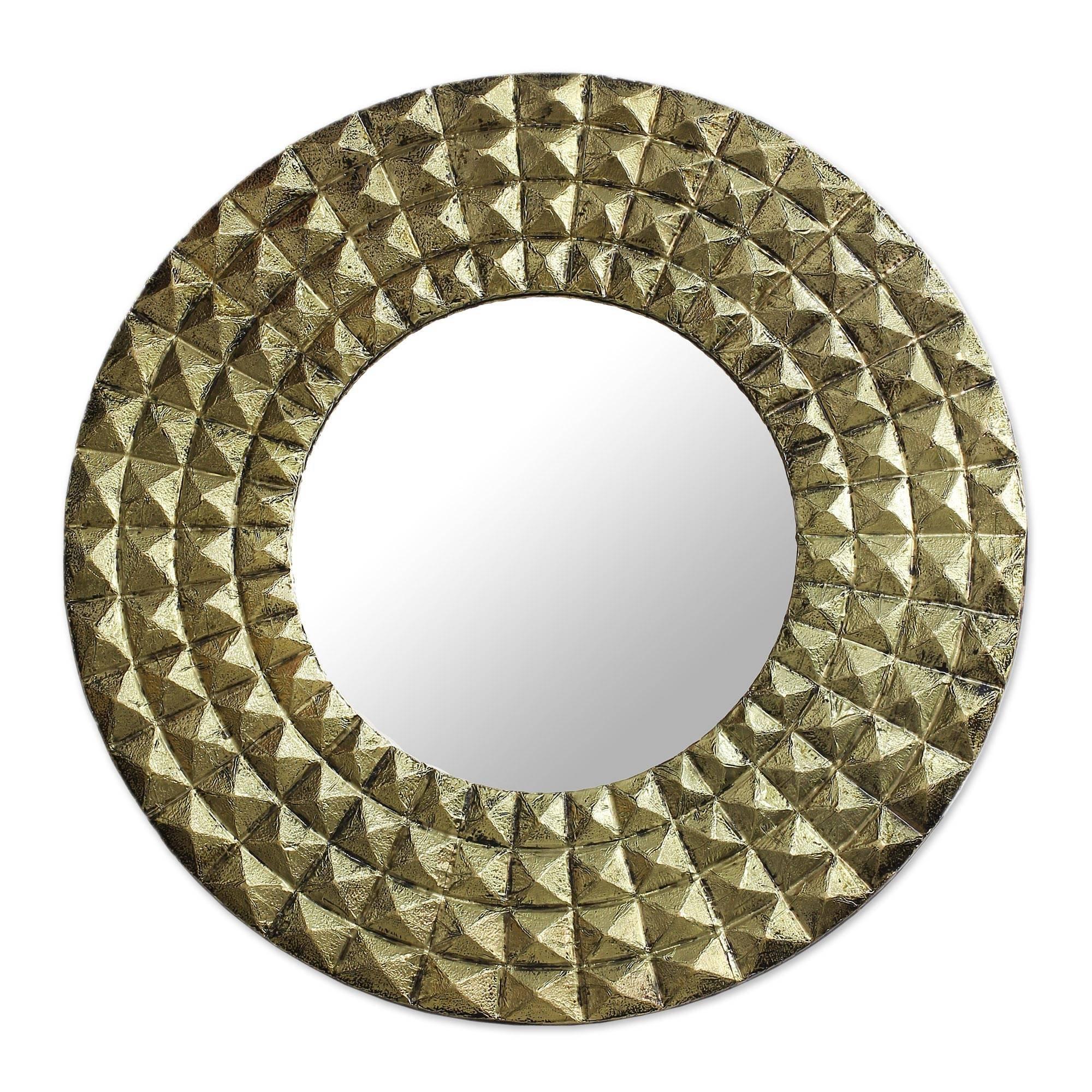 NOVICA Decorative Glass Wall Mounted Mirror, Gold Tone Brass 'Circling Pyramids'
