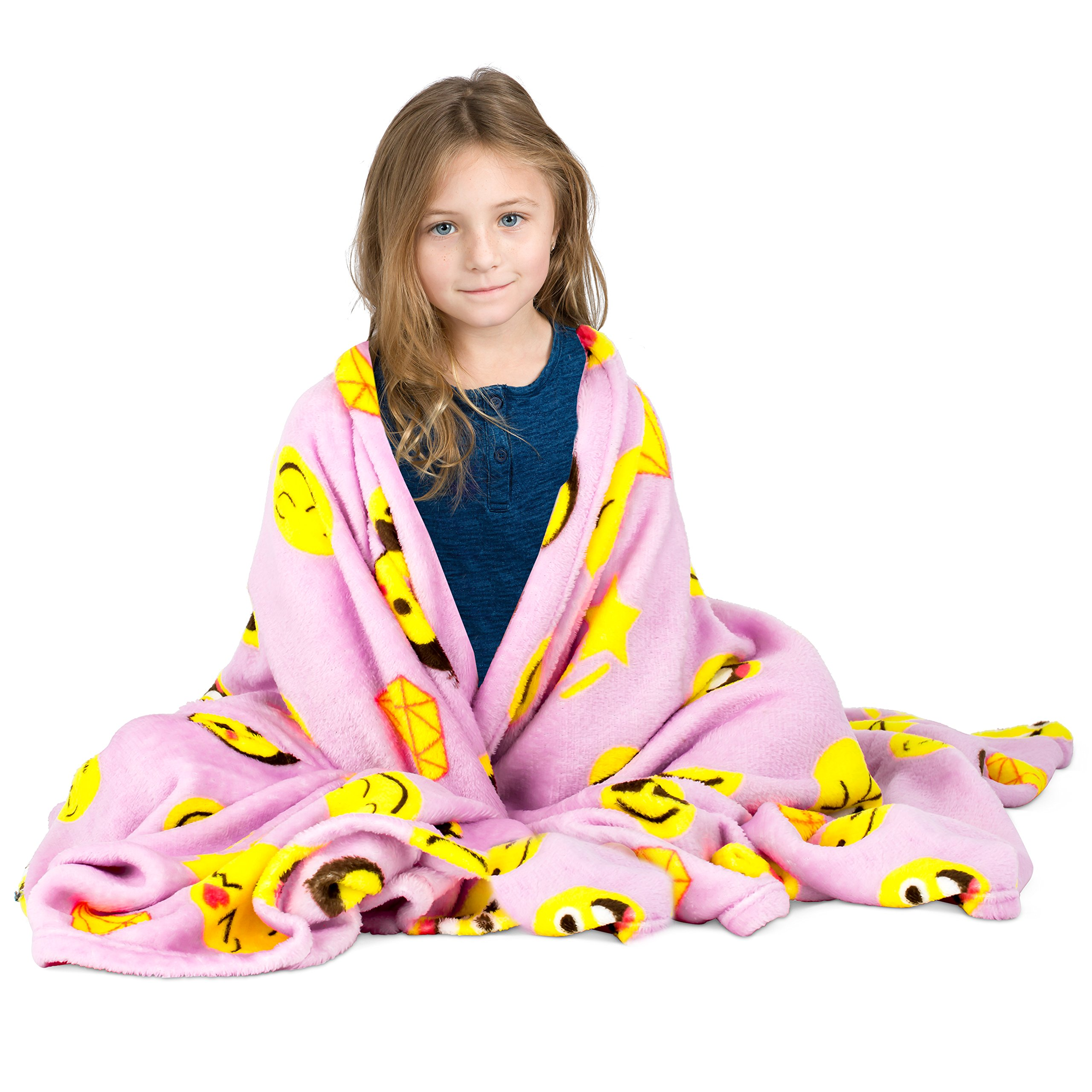 Koltose by Mash Pink Emoji Throw Blanket, Adorable Soft Large Fluffy Lightweight Emoticon Blanket for Girls and Boys, Toddlers Kids Teens and Young Adults (50in x 60in) by Koltose by Mash (Image #2)