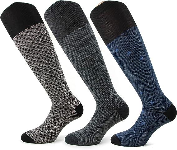 6 Paia calza moda caldo cotone lunghi uomo blu in cotone