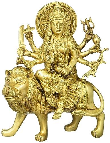 Gangesindia Durga On Tiger Figure Brass Maa Ashtabhuja Statue 8.5 H x 7 W Gold