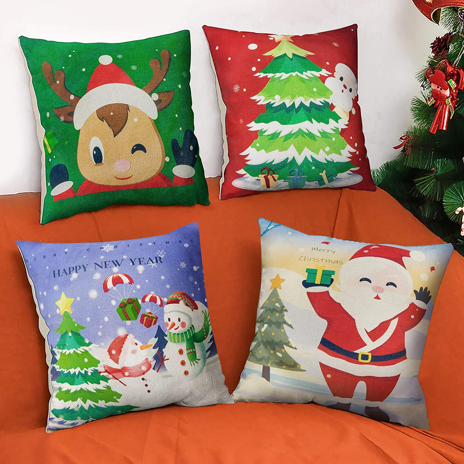 BININBOX Christmas Pillow Cover 4 Sets 18x18 Inch Xmas Decor Santa Deer Pillow Covers Farmhouse Decorative Square Linen Throw Pillow Covers for Sofa, Couch, Bed and Car
