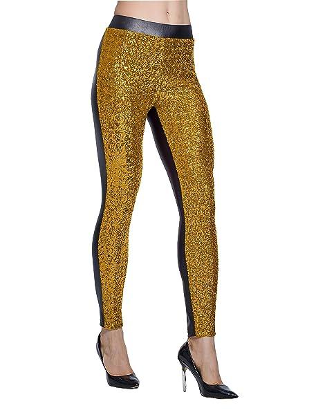 04cad717e1d8b Lotsyle Women's Rose Shiny Sequins Faux Leather Leggings Pants Stretch Long  Trousers Gold-S