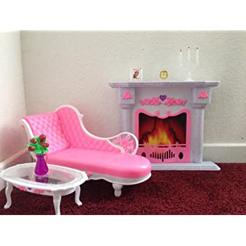 Barbie Size Dollhouse Furniture  Living Room Fire Place Leisure Chair