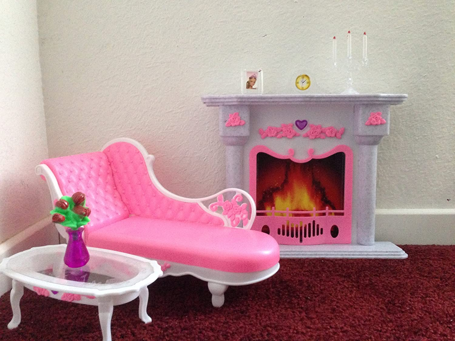 Amazon Barbie Size Dollhouse Furniture Living Room Fire Place Leisure Chair Toys Games