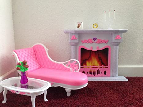 Amazon.com: Barbie Size Dollhouse Furniture- Living Room Fire Place ...
