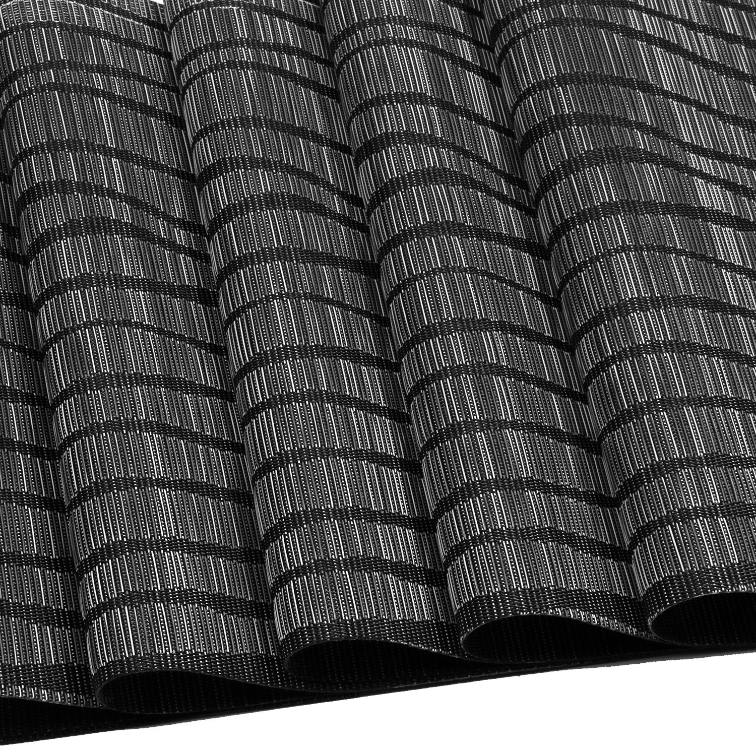 Topotdor Placemats set of 6 PVC Non-slip Insulation Stain-resistant vertical stripes Placemats for Home, Kitchen,Office and Outdoor (Set of 6, Black) by Topotdor (Image #4)