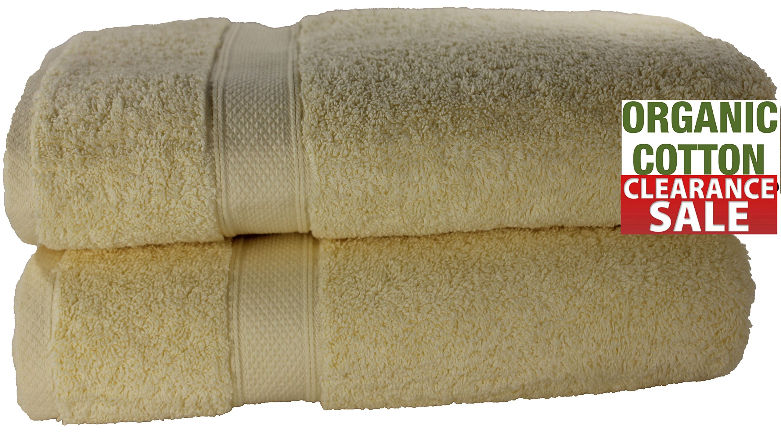 100 % Organic Turkish cotton, Antibacterial Premium Quality, Turkish Towels Super Soft, Plush Highly Absorbency,Everyday Use Quick dry. Long lasting (35 x 70-Inch Bath Sheet- Set of 2, Light Yellow)