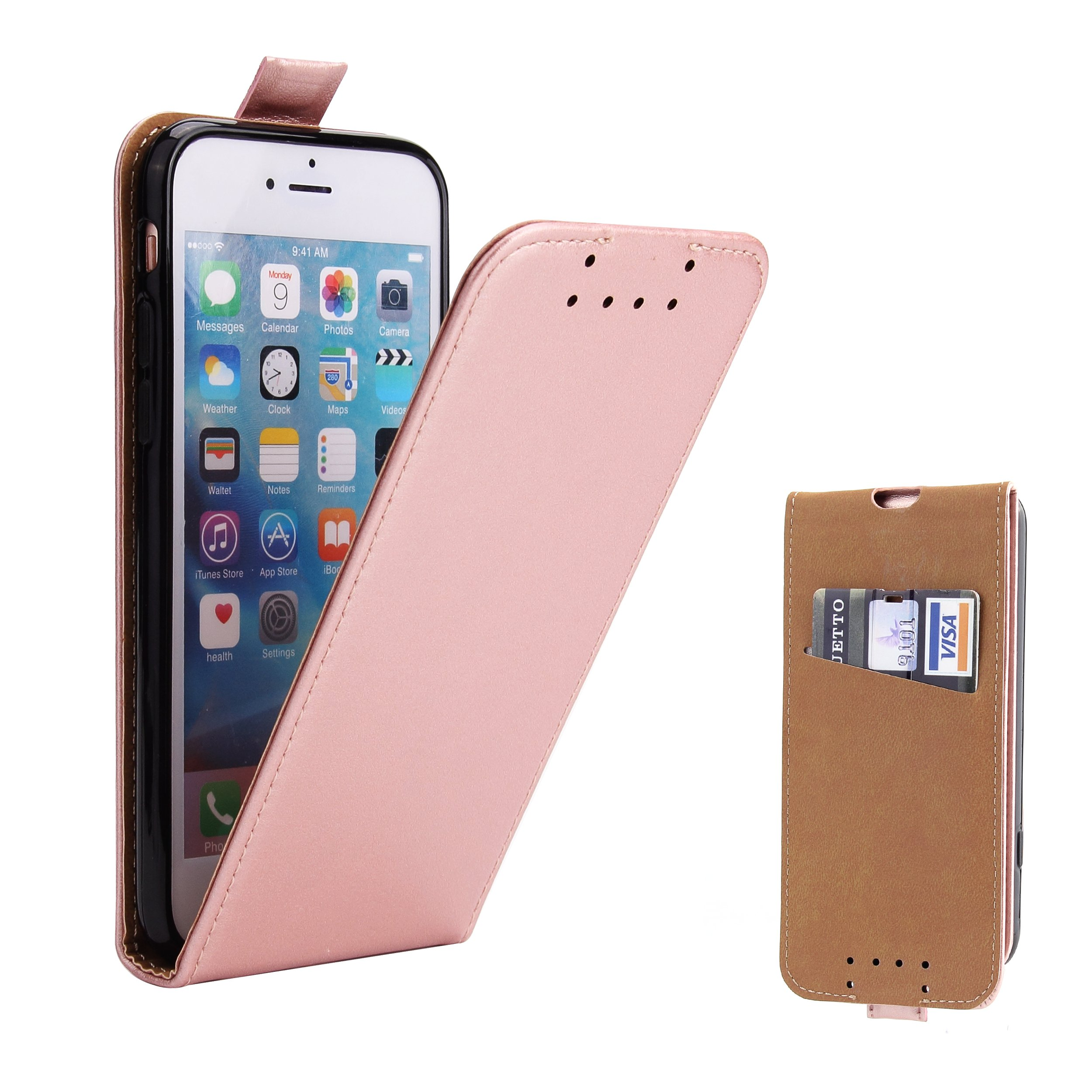 iPhone 7 Case, iPhone 8 Case, Supad [Credit Card Slot] Flip Leather Phone Case Cover for iPhone 7/8 with Magnetic Closure (Black)
