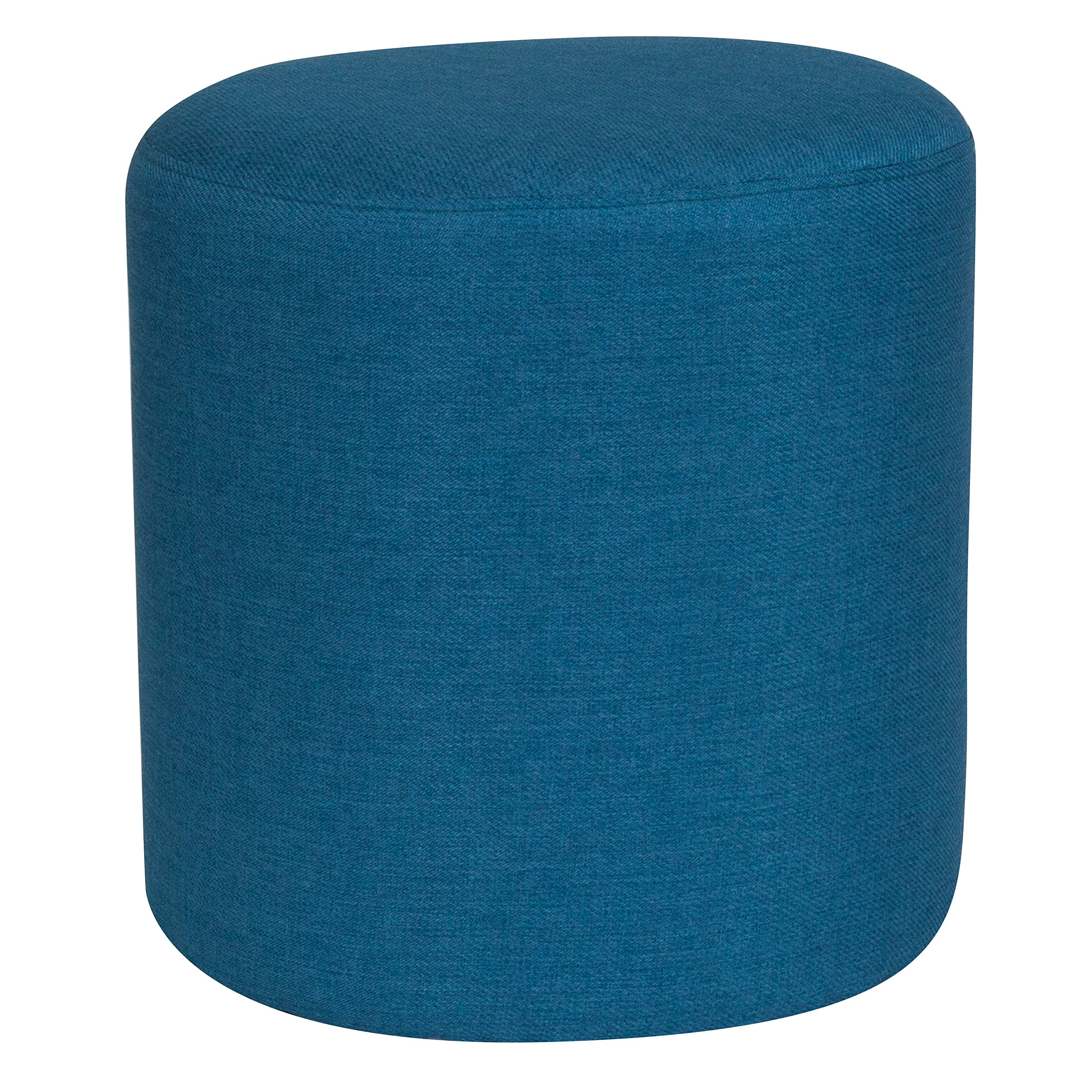 Flash Furniture Barrington Upholstered Round Ottoman Pouf in Blue Fabric by Flash Furniture