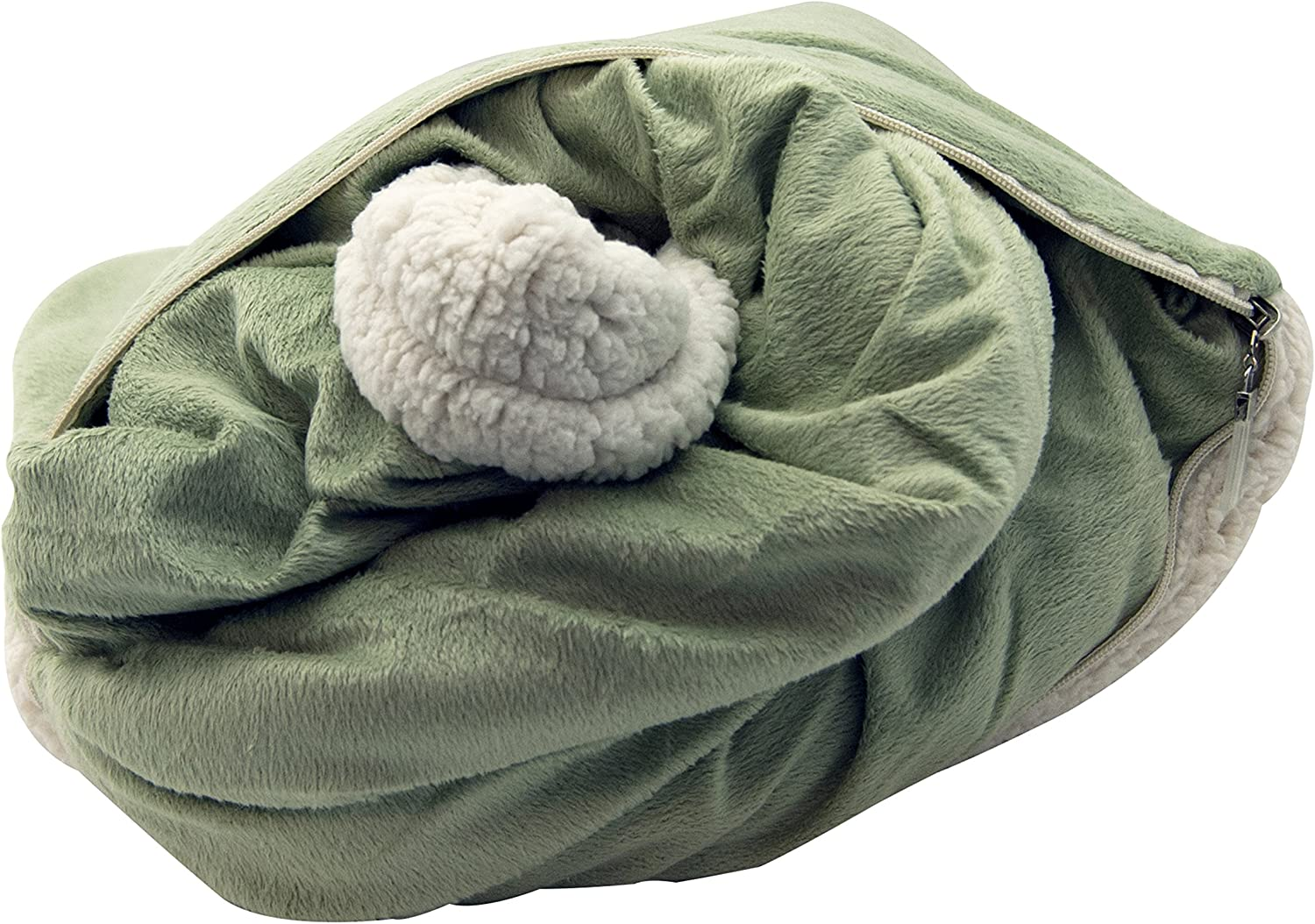 LCM Home Fashions Micro Mink/Sherpa Throw Blanket and Pillow, Sage