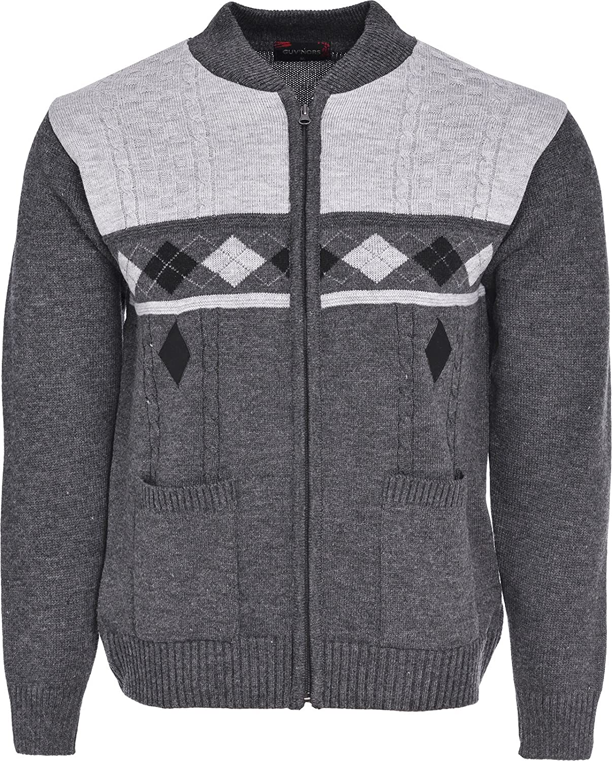 Mens Knitted Cardigan Full Front Zip Closure Dual Tone Design Zipper Top