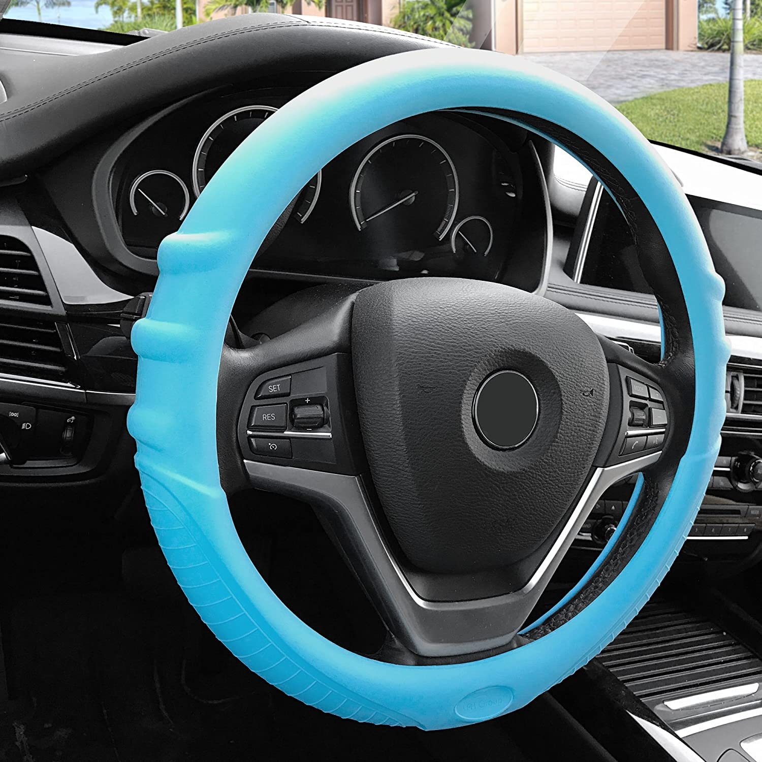 Silicone W. Grip /& Pattern Massaging grip Red Color-Fit Most Car Truck Suv or Van FH Group FH3003RED Red Steering Wheel Cover