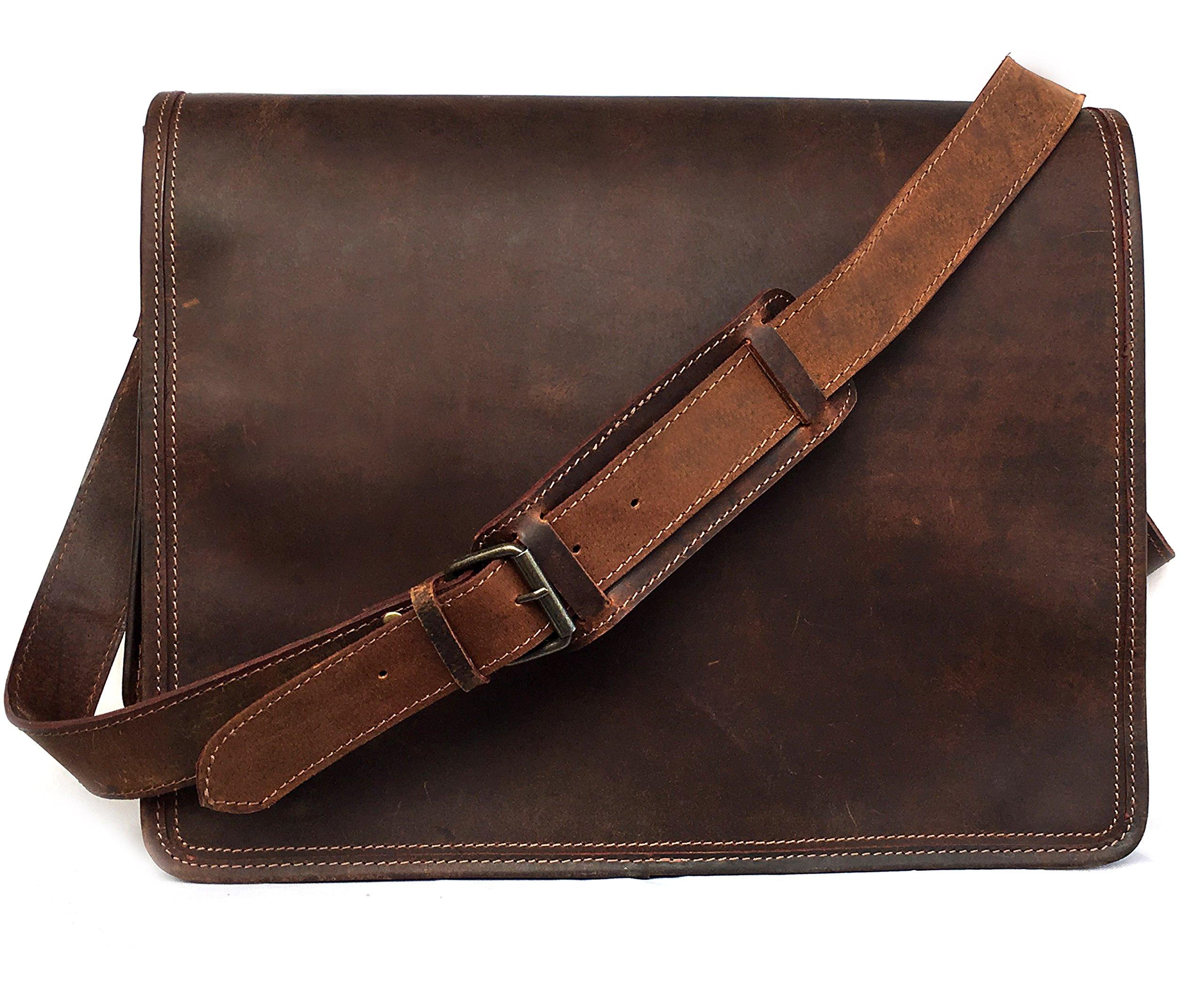 16 Inch Leather Vintage Rustic Crossbody Messenger Courier Satchel Bag Gift Men Women ~ Business Work Briefcase Carry Laptop Computer Book Handmade Rugged & Distressed By KK's Leather by kk's leather (Image #3)