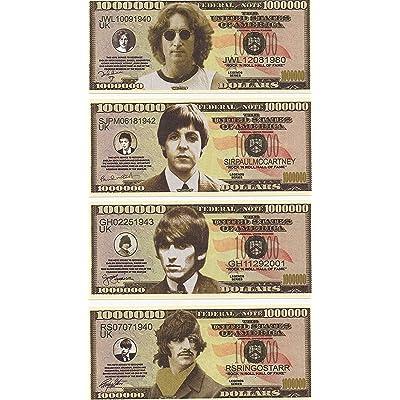 The Beatles $Million Dollar$ Novelty Bills Complete Set of 4: Toys & Games