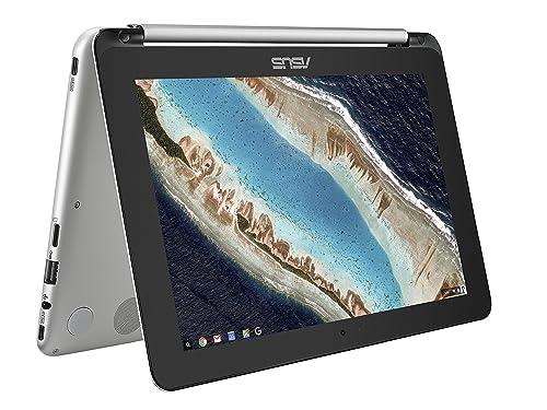 ASUS C101PA-FS002 10.1-inch Touchscreen Chromebook Flip (Silver) - (OP1 Processor, 4GB RAM, 16GB eMMC, 10.1 360-Degree Rotatable Touchscreen, Chrome OS)