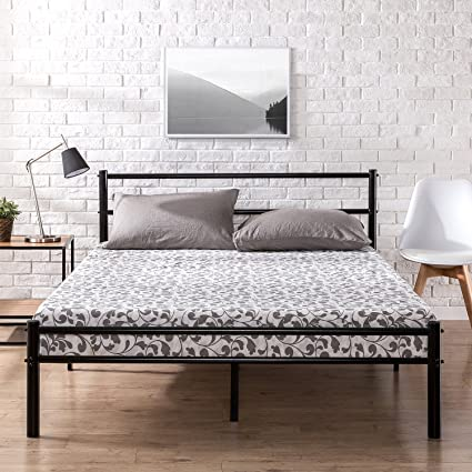Zinus Metal Platform Bed Frame With Headboard And Footboard / Premium Steel  Slat Support / Mattress
