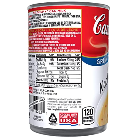 Campbells Condensed Fiesta Nacho Cheese Soup, 10.75 Oz, Pack of 12