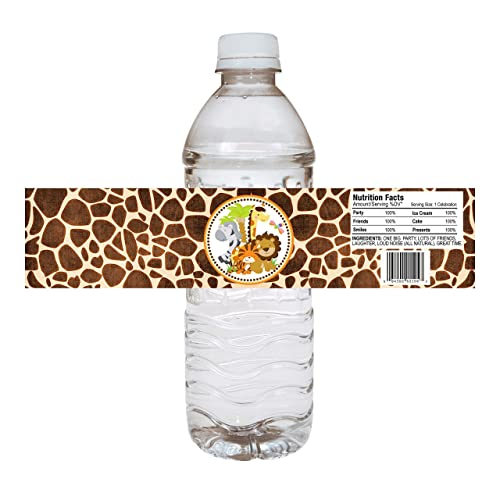 Jungle Safari Party Water Bottle Labels Animal Print Baby Shower Party Drink Stickers Set Of 12