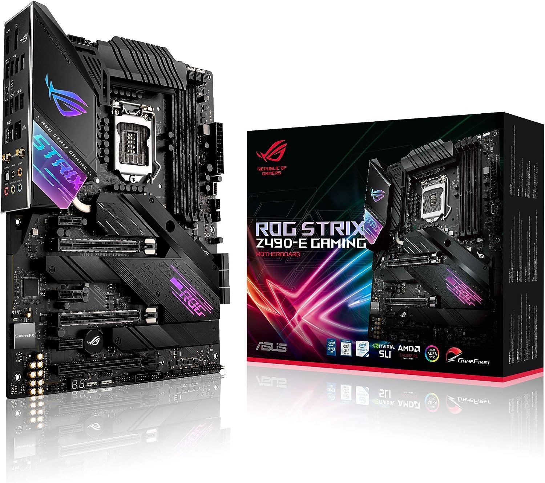 ASUS ROG Strix Z490-E Gaming - Placa Base Gaming ATX Intel de 10a Gen LGA 1200 con VRM de 16 Fases, WiFi 6, LAN 2.5 Gigabit, Dual M.2 con disipación, USB 3.2 Gen 2, SATA e iluminación RGB Aura Sync