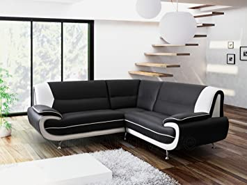 KARA OLAF FAUX LEATHER CORNER SOFA BLACK AND WHITE By Olafkarol