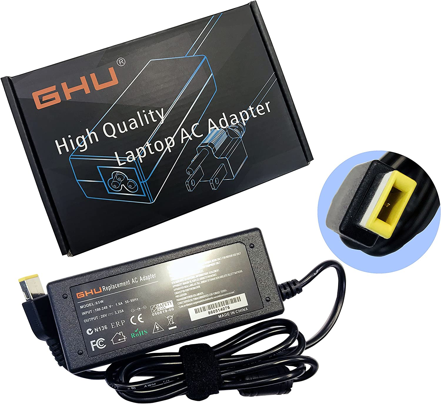 New GHU 65W AC Adapter Charger Compatible with Lenovo ThinkPad E431 E440 E450 E455 E460 E531 E540 E550 E555 E560 ThinkPad T450 T450s T470 T460 T570 W550s Y700 X1 Carbon Lenovo B50 G40 G50 G51 G70 N20p