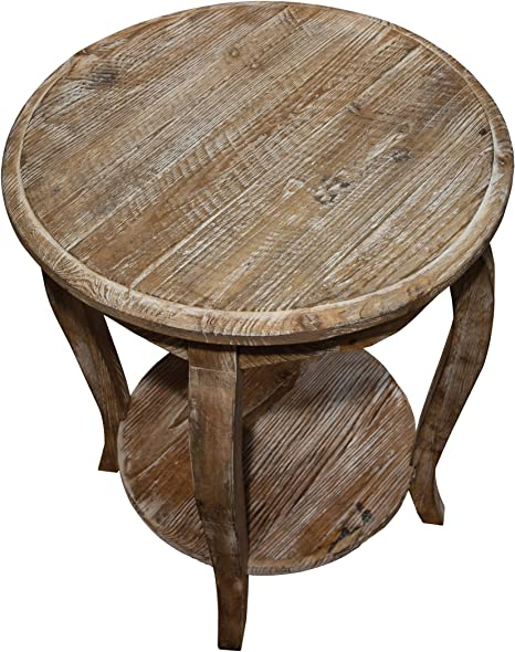 Rustic Reclaimed Wood Round Garden Stool Outdoor Patio Side Table Accent Table