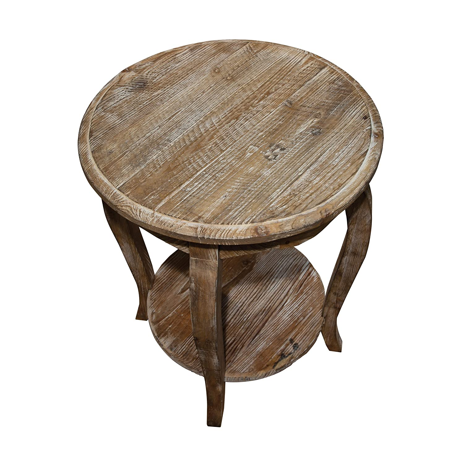 Alaterre Austerity Reclaimed Round End Table, Driftwood