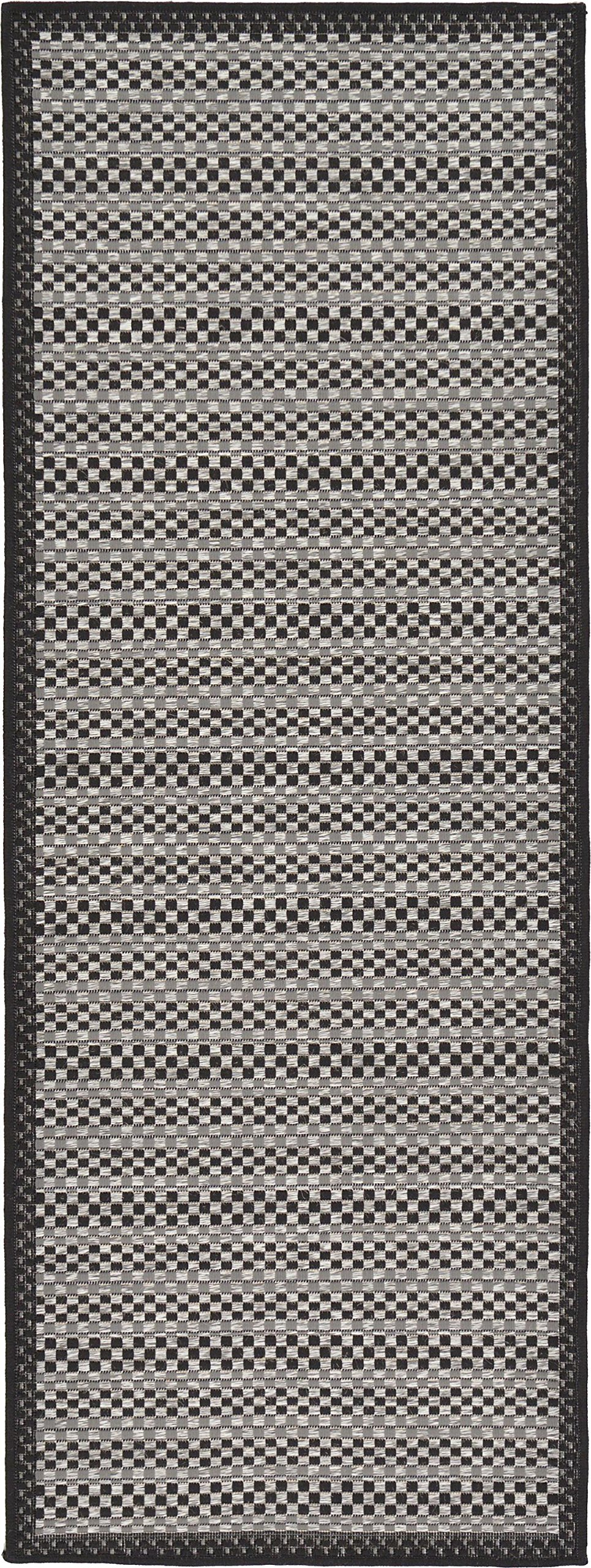 Unique Loom Outdoor Collection Striped Casual Border Indoor and Outdoor Transitional Gray Runner Rug (2' x 6')