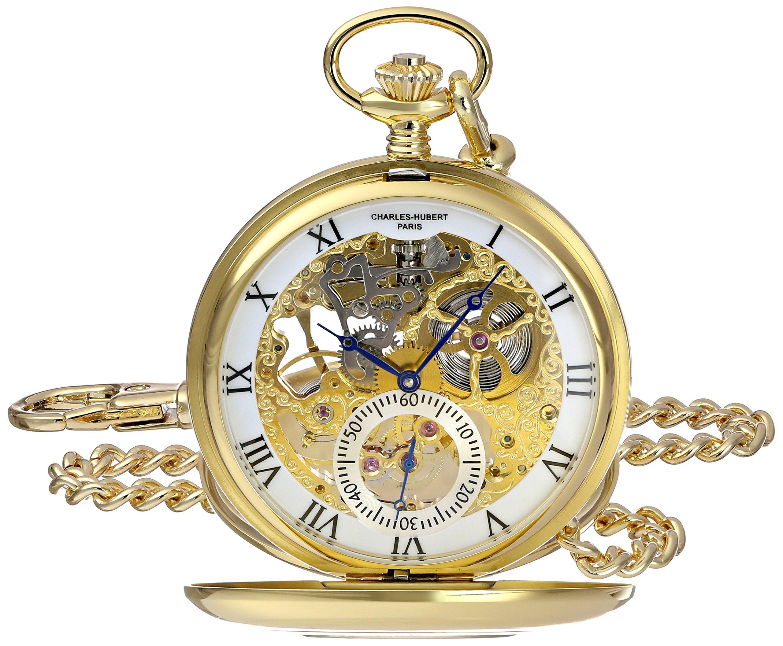 Charles-Hubert, Paris 3972-G Premium Collection Analog Display Mechanical Hand Wind Pocket Watch