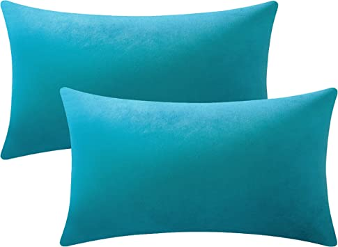 Amazon Com Dezene Throw Pillow Cases 12x20 Turquoise 2 Pack Cozy Soft Velvet Rectangular Decorative Pillow Covers For Farmhouse Home Decor Home Kitchen