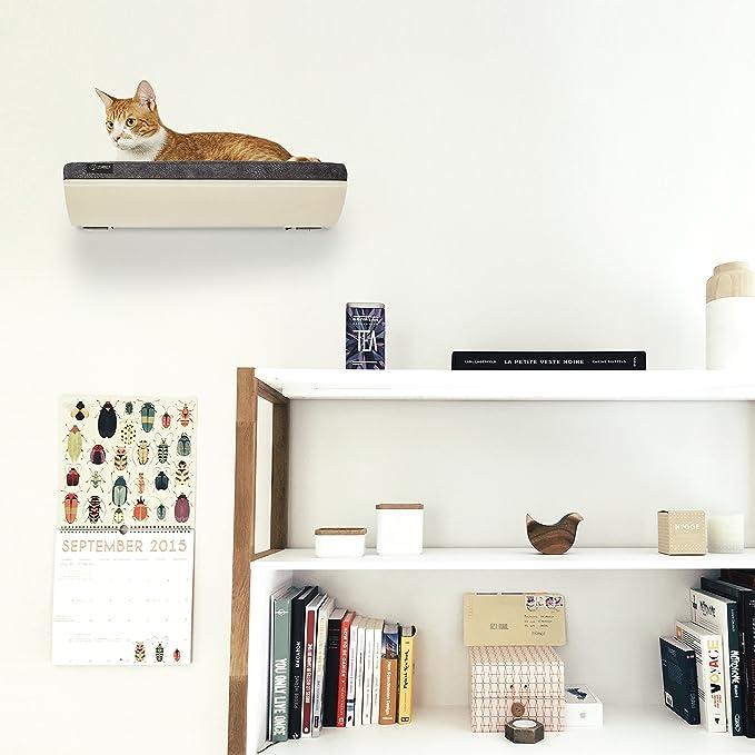 CosyAndDozy - Estante para gatos con diseño de ondas, suave perca, cojín marrón claro, montado en la pared, cama para mascotas, cama para gatos - el mejor ...