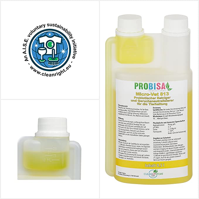 Neutralizadores de olor spray (Probisa Micro-Vet 813) de la orina del gato, perro y los roedores olores - y bio limpiador concentrado 500ml rendimiento 25 ...