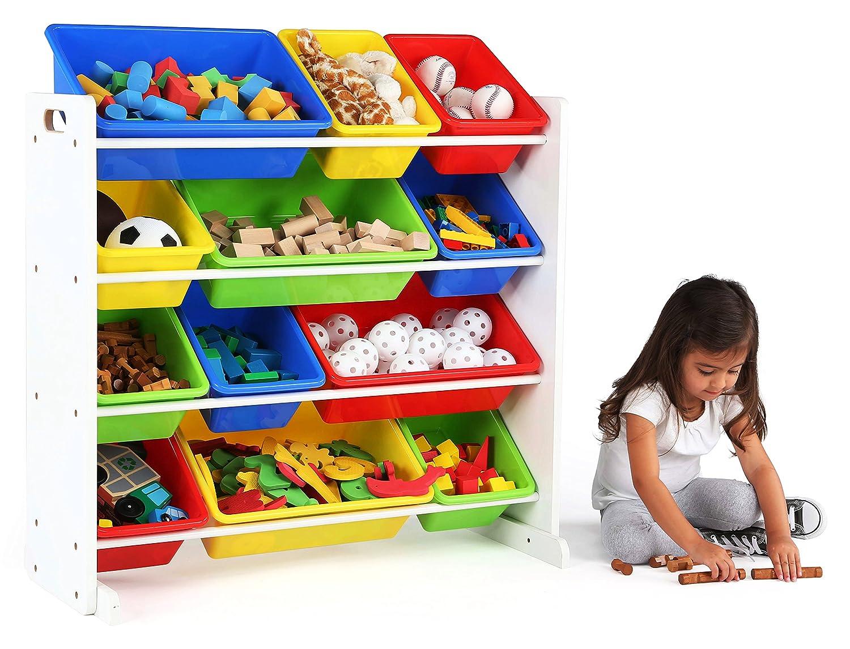 Tot Tutors Kids Toy Storage Organizer with 12 Plastic Bins Espresso//White Espresso Collection