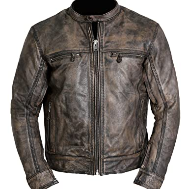 Triple Stitch Cafe Racer Distressed Wax Men S Biker Vintage Style