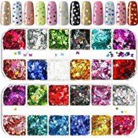 2 Packs Butterfly Nail Sequin Star Nail Glitter Sequins Mixed Paillettes Holographic Nail Art Sparkly Glitter Sheets…