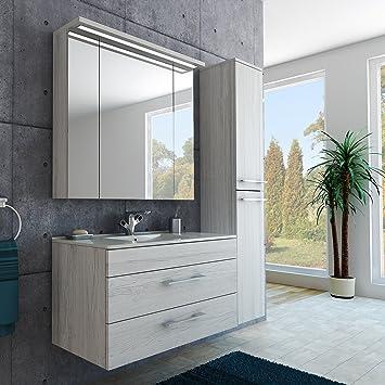 Badezimmer Möbel Set Mit Waschbecken Spiegel Und Hochschrank In Monaco  Eiche / Hellgrau Grau