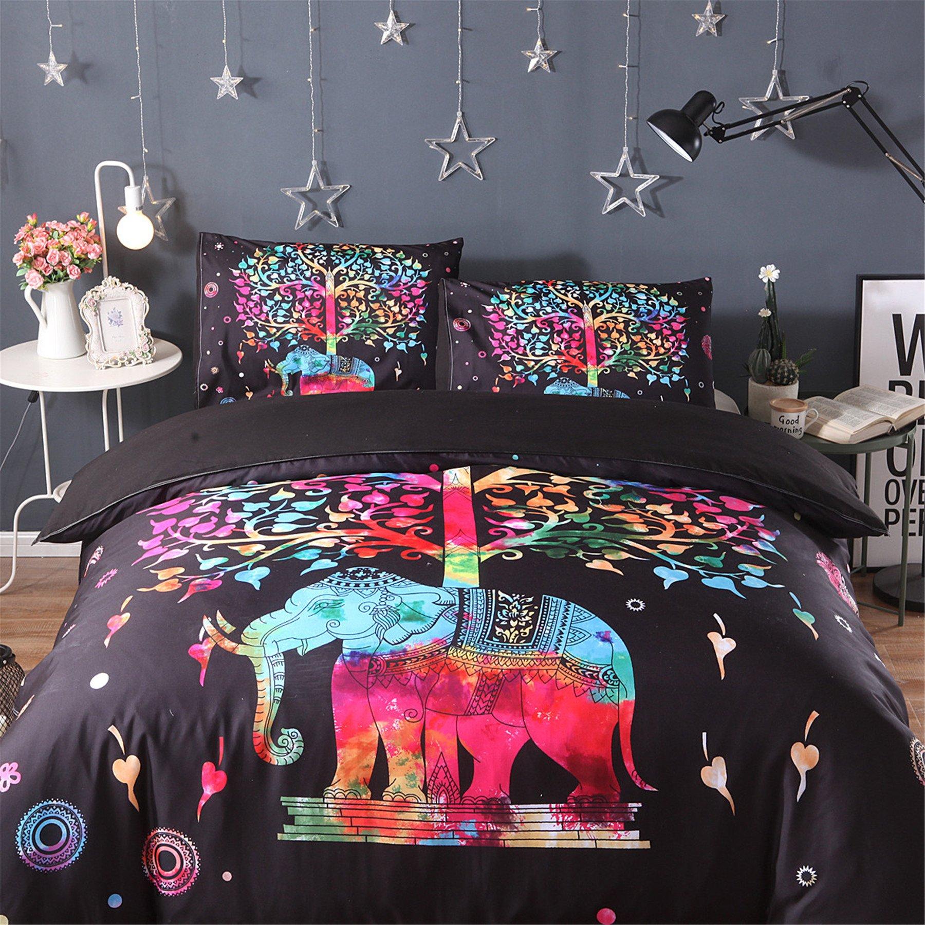 Meeting Story 3PCS Animals ELEPHANT Printed Duvet Cover Set, Microfiber Bedding Set (Queen, COLORFUL ELE)