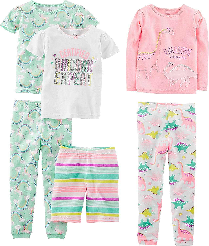 - para beb/é ni/ña multicolor Donuts//Zebra//Dots 5 Years Juego de pijama de algod/ón de ajuste c/ómodo de 6 piezas Simple Joys by Carters Pijamas enteros