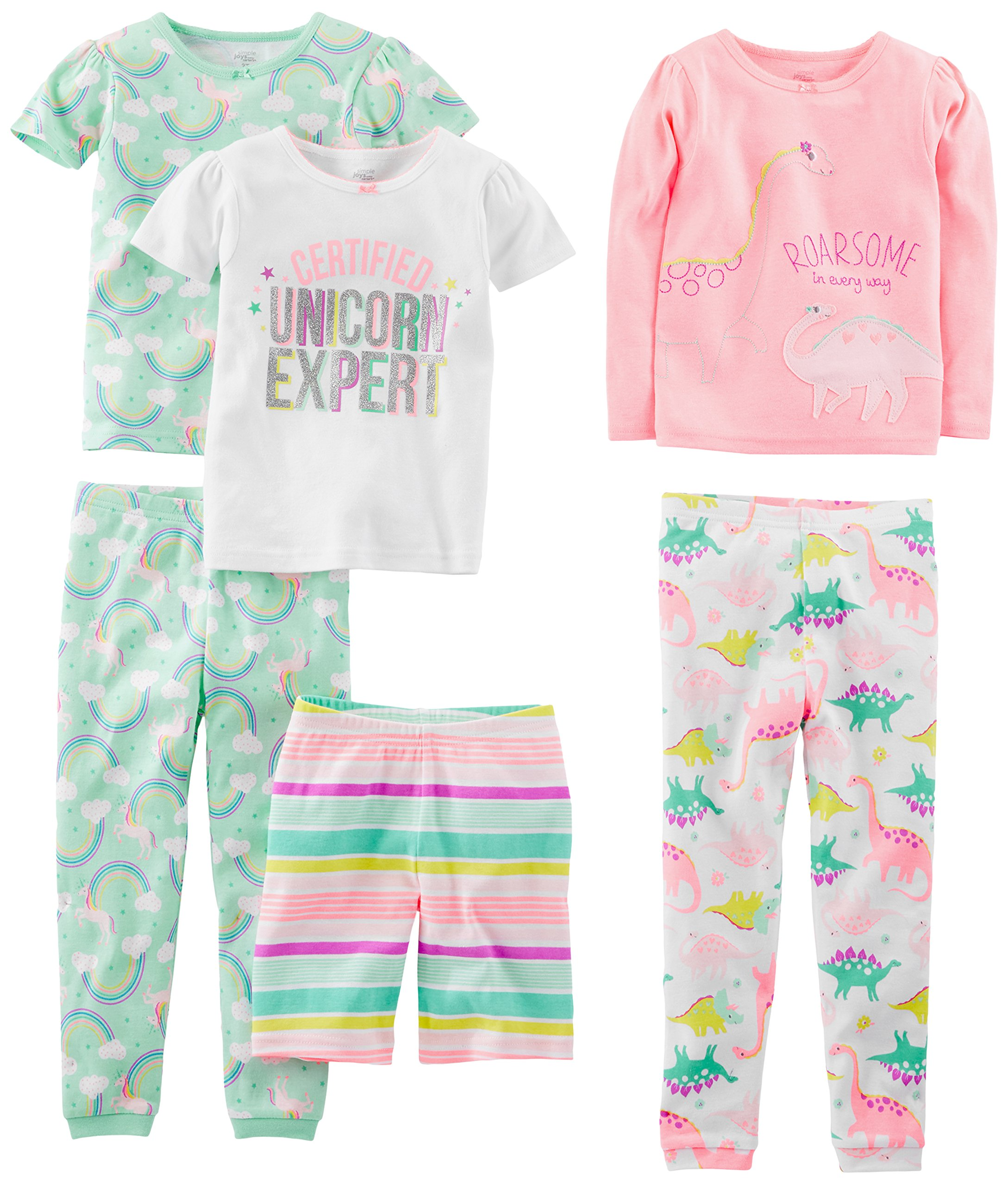 Simple Joys by Carter's Baby Girls' Toddler 6-Piece Snug Fit Cotton Pajama Set, Dinosaur, Rainbow,Unicorn, 4T